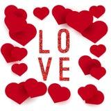 De gelukkige kaart van de de liefdegroet van de Valentijnskaartendag met rood schittert het fonkelen effect Stock Afbeeldingen