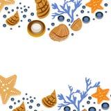 De gelukkige kaart van de de zomergroet met zeeschelpen op witte achtergrond Vierkant kader van hand getrokken overzeese shells e Stock Afbeelding