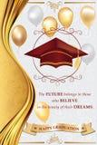 De gelukkige kaart van de Graduatiegroet voor druk stock afbeeldingen