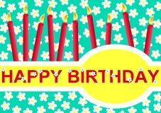 De gelukkige Kaart van de Groet van de Verjaardag met Kaarsen Stock Foto's