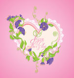 De gelukkige kaart van de Moederdag Het hart wordt gemaakt van kant Stock Foto