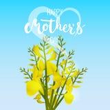 De gelukkige kaart van de Moederdaggroet met bloemen, hart en kalligrafie op de blauwe achtergrond Stock Fotografie