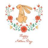 De gelukkige kaart van de Moedersdag met leuk konijnenmamma en Stock Afbeelding