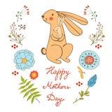 De gelukkige kaart van de Moedersdag met leuk konijnenmamma en Stock Fotografie