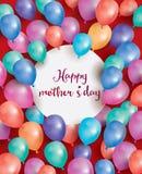 De gelukkige Kaart van de Moedersdag met witte cirkel en vliegende ballon Stock Afbeeldingen