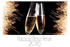 De gelukkige kaart van de Nieuwjaar 2016 groet Stock Afbeeldingen
