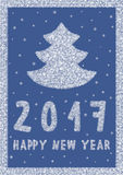 De gelukkige Kaart van de Nieuwjaar 2017 Groet met Kerstboom die van sneeuwvlokken wordt gemaakt Stock Fotografie