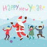 De gelukkige Kaart van de Nieuwjaar van letters voorziende Groet Royalty-vrije Stock Foto's