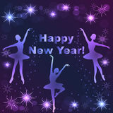 De gelukkige Kaart van de Nieuwjaar van letters voorziende Groet Royalty-vrije Stock Fotografie