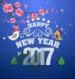 De gelukkige kaart van de Nieuwjaargroet 2017 Stock Afbeeldingen