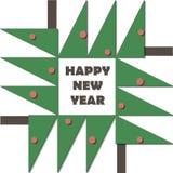 De gelukkige kaart van de Nieuwjaargroet Document het knipselkind van de besnoeiingscollage applique Kerstboom met rood ballen ge Stock Fotografie