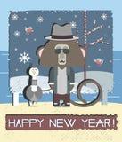 De gelukkige Kaart van de Nieuwjaargroet met Aap en Meeuwvogel Royalty-vrije Stock Afbeeldingen