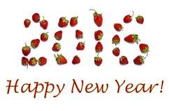 De gelukkige kaart van de Nieuwjaargroet met aardbeien Stock Foto