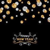 De gelukkige Kaart van de Nieuwjaargroet met Glanzende Punten Stock Afbeelding