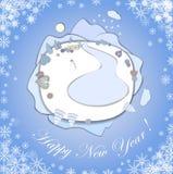 De gelukkige kaart van de Nieuwjaargroet met Kerstmislandschap vector illustratie