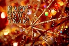 De gelukkige kaart van de Nieuwjaargroet met uitstekend sjofel decoratieclose-up Royalty-vrije Stock Foto
