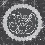 De gelukkige kaart van de Nieuwjaargroet Uitstekende illustratie Hand-drawn brieven Royalty-vrije Stock Afbeeldingen