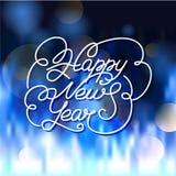 De gelukkige kaart van de Nieuwjaargroet Vector van letters voorziende illustratie met Stock Afbeelding