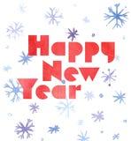 De gelukkige kaart van de Nieuwjaarwaterverf met sneeuwvlokken en het van letters voorzien, leuke kawaii retro stijl Stock Fotografie