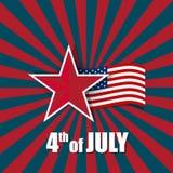 De gelukkige kaart van de onafhankelijkheidsdag, vierde van Juli, Vectorsamenvatting backgr Royalty-vrije Stock Afbeeldingen