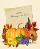 De gelukkige kaart van de Thanksgiving daygroet met pompoenen en document Royalty-vrije Stock Afbeeldingen