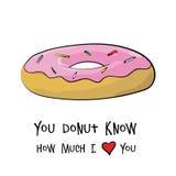 De gelukkige kaart van de valentijnskaartendag Geïsoleerd doughnutconcept Stock Foto's