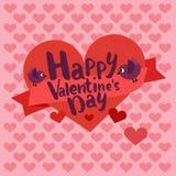 De gelukkige kaart van de valentijnskaartendag het van letters voorzien met hart Stock Afbeelding
