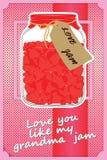 De gelukkige kaart van de valentijnskaartendag Kruik met de rode kaart van hartengreatings Royalty-vrije Stock Foto's