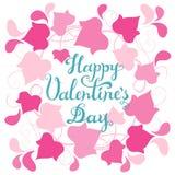 De gelukkige kaart van de Valentijnskaartendag met Abstract roze verlaat slinger en hand het getrokken viering van letters voorzi Royalty-vrije Stock Foto