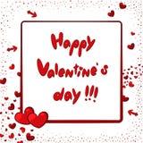 De gelukkige kaart van de Valentijnskaartendag met harten en pijlen Royalty-vrije Stock Afbeeldingen