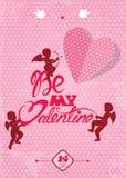 De gelukkige kaart van de Valentijnskaartendag met leuke engelen en het hart op polka  stock illustratie