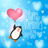 De gelukkige kaart van de Valentijnskaartendag met pinguïn stock illustratie