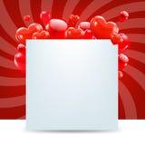 De gelukkige Kaart van de Valentijnskaartendag met Zonnestraal Stock Afbeeldingen