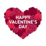 De gelukkige kaart van de valentijnskaartendag Rose Heart Isolated op Witte Achtergrond Huwelijksaffiche Stock Afbeelding