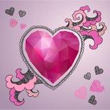 De gelukkige kaart van de valentijnskaartendag Veelhoekig hart met het getrokken decor Royalty-vrije Illustratie