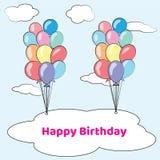 De gelukkige Kaart van de Verjaardag met Ballons Stock Foto
