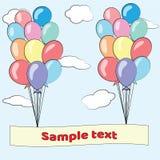 De gelukkige Kaart van de Verjaardag met Ballons Royalty-vrije Stock Afbeeldingen