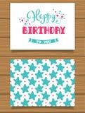 De gelukkige kaart van de Verjaardags Van letters voorziende groet en zijn achterkant met een abstract ontwerp Stock Foto's