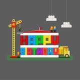 De gelukkige kaart van de Verjaardagsgroet met bouwers, vrachtwagen en bouwerscr stock illustratie