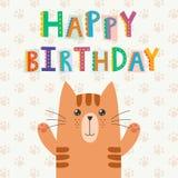 De gelukkige kaart van de Verjaardagsgroet met een leuke kat en een grappige tekst Stock Afbeeldingen
