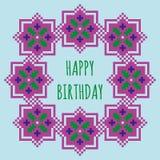 De gelukkige kaart van de Verjaardagsgroet met een violet bloemenkader Stock Foto