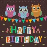 De gelukkige kaart van de Verjaardagsgroet met leuke uilen en grappige teksten Royalty-vrije Stock Foto