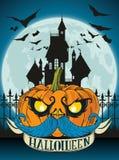 De gelukkige kaart van Halloween Stock Foto's
