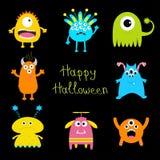 De gelukkige kaart van Halloween Kleurrijke monster grote reeks Leuk beeldverhaal eng karakter Babyinzameling Zwarte achtergrond  Stock Afbeelding