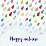De gelukkige kaart van de de herfstverkoop met kleurrijke regendalingen en exemplaarruimte Vector illustratie Royalty-vrije Stock Afbeelding