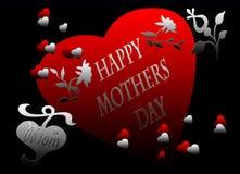 De gelukkige Kaart van het Hart van de Dag van Moeders Rode Zwarte Stock Afbeeldingen