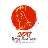 De gelukkige kaart van het Nieuwjaarteken met Haan Vector Illustratie