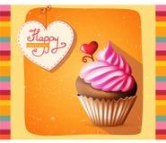 De gelukkige kaart van het verjaardagsmalplaatje met cake en tekst Stock Fotografie