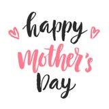 De gelukkige kaart van de Moeder` s dag met hand getrokken moderne kalligrafie Stock Afbeelding