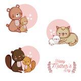 De gelukkige kaart van de moedersdag met leuke dierenbeeldverhalen Stock Afbeeldingen
